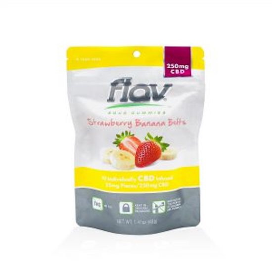 Flav CBD Strawberry Banana Belts Sour Gummies 250mg -10/25mg